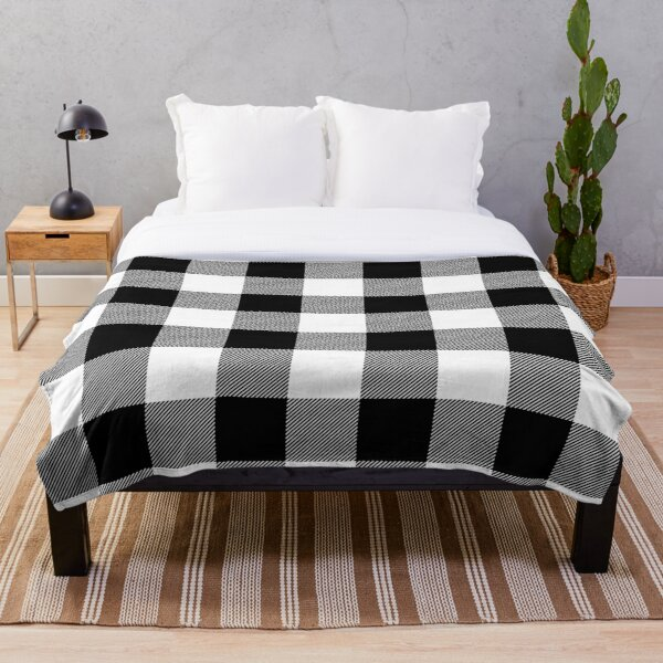 Black and White Plaid  Throw Blanket