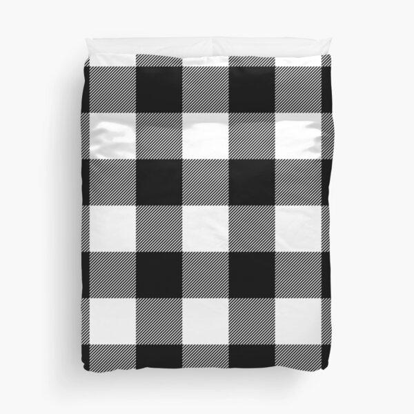 Black and White Plaid  Duvet Cover