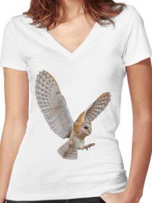 Barn Owl Attack Women's Fitted V-Neck T-Shirt