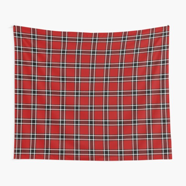 Red Black and White Tartan Tapestry