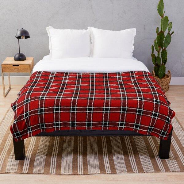Red Black and White Tartan Throw Blanket
