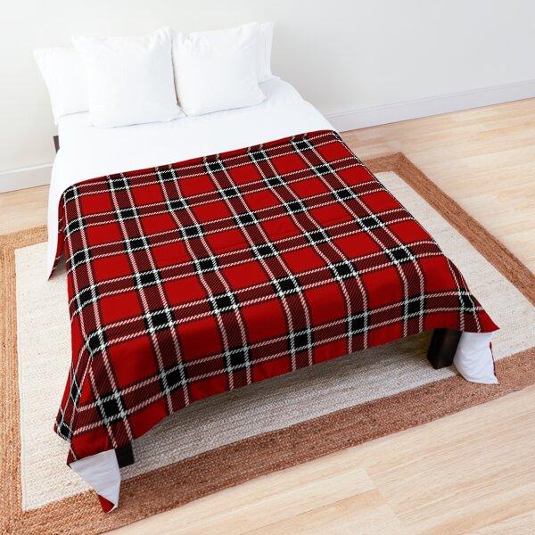 Red Black and White Tartan Comforter