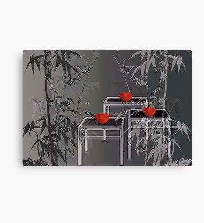3 red tea bowls Canvas Print
