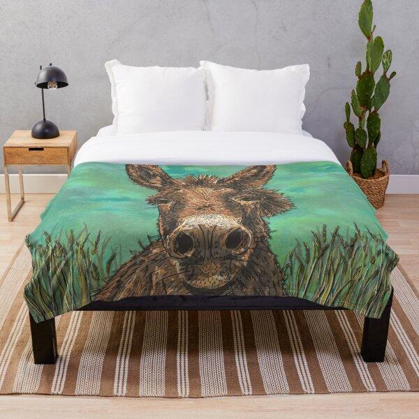 Little Brown Donkey Throw Blanket