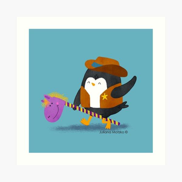 Cowboy Penguin Art Print