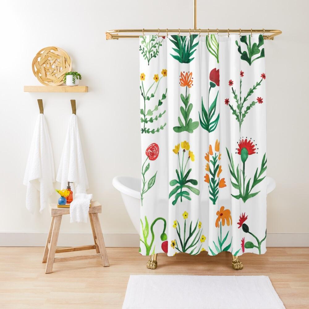 Herbarium flower dream Shower Curtain