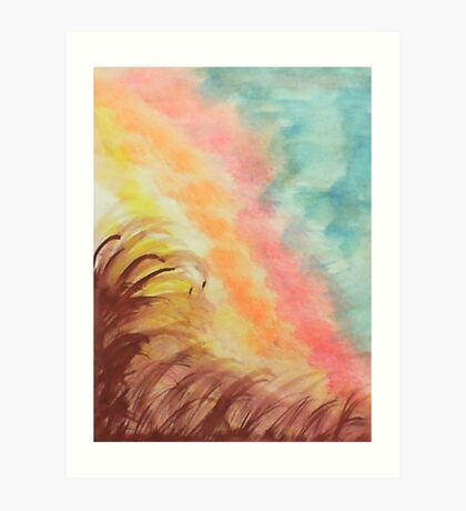 Sunrise With a Twist, on Hill , watercolor Art Print
