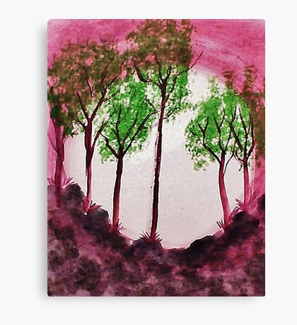 Sunrise Thru the Trees,watercolor  Canvas Print
