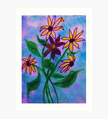 Bouquet  of Daiseys. watercolor Art Print