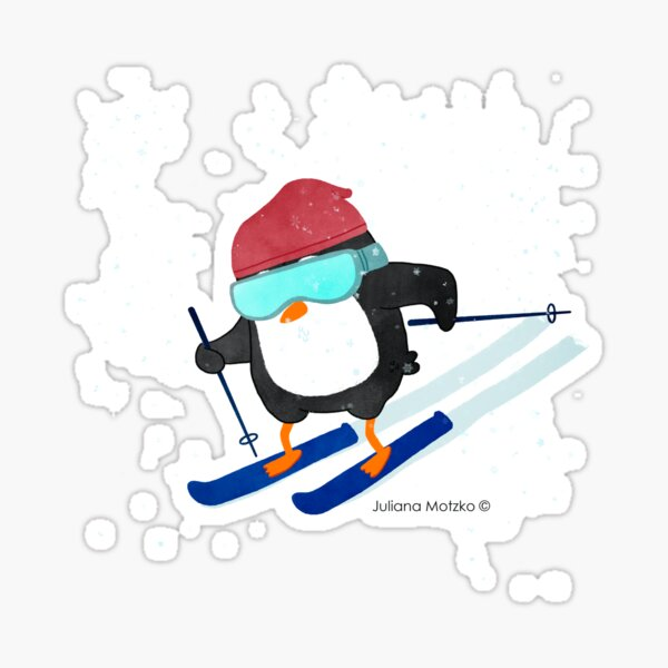 Skiing Penguin Sticker