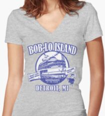 Boblo Island, Detroit MI (vintage distressed look) Women's Fitted V-Neck T-Shirt
