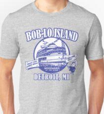 Camiseta ajustada Boblo Island, Detroit MI (aspecto angustiado vintage)