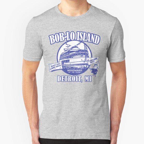 Boblo Island, Detroit MI (vintage distressed look) Slim Fit T-Shirt