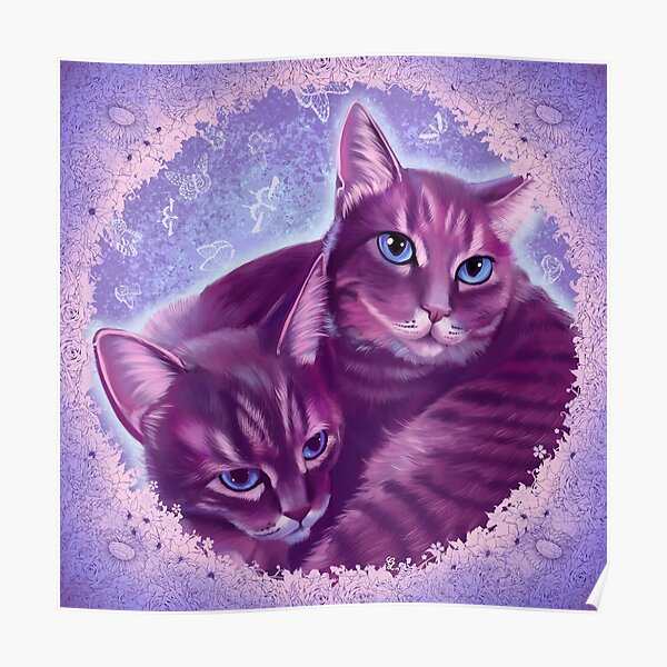 Snuggling Cats Poster
