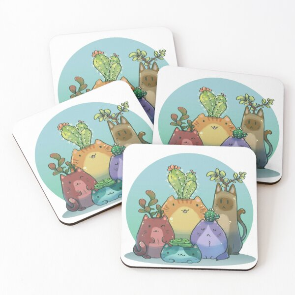 Tiny cactus and succulents cat planters Coasters (Set of 4)