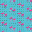 Tropical Flamingo Pattern by Marianne Paluso