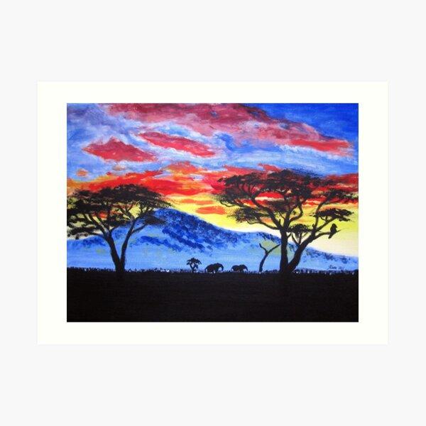 African sunset painting Art Print