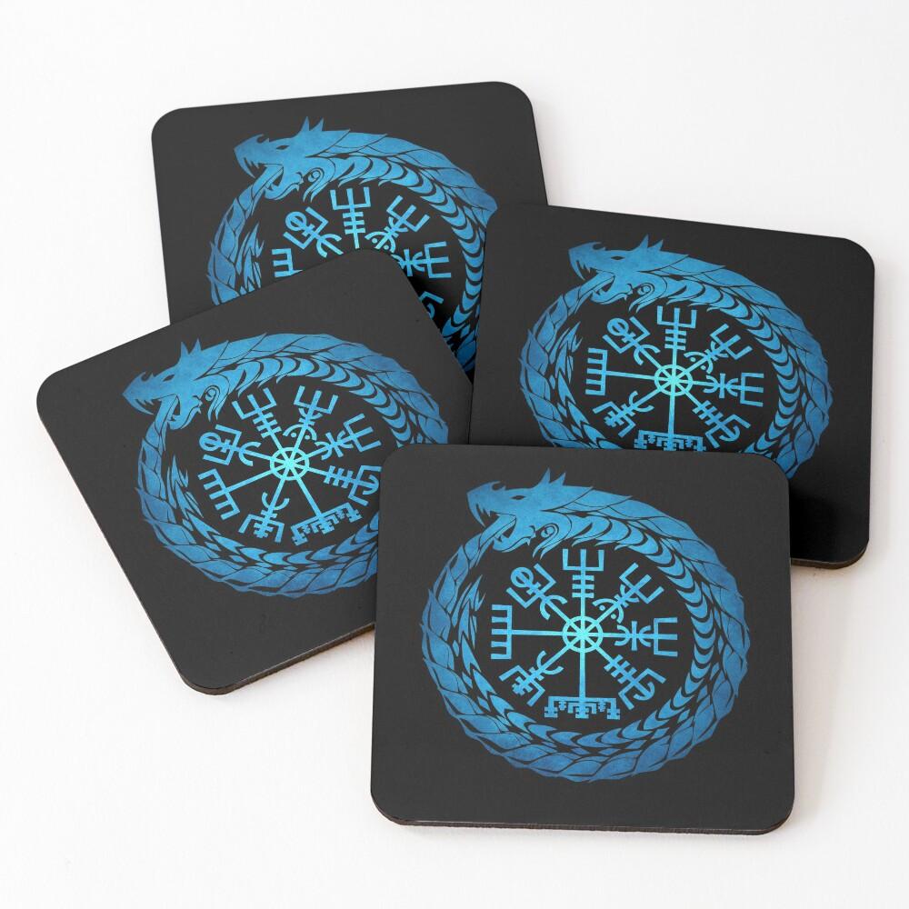 Vegvisir Jormungandr World Serpent  Coasters (Set of 4)