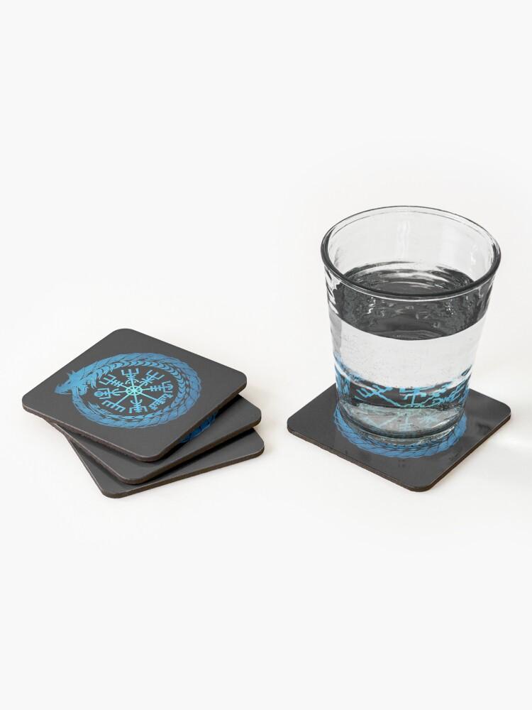 Alternate view of Vegvisir Jormungandr World Serpent  Coasters (Set of 4)