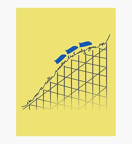 I'm On a Roller Coaster That Only Goes Up (Blue Cars) Photographic Print