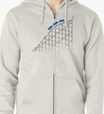 I'm On a Roller Coaster That Only Goes Up (Blue Cars) Zipped Hoodie