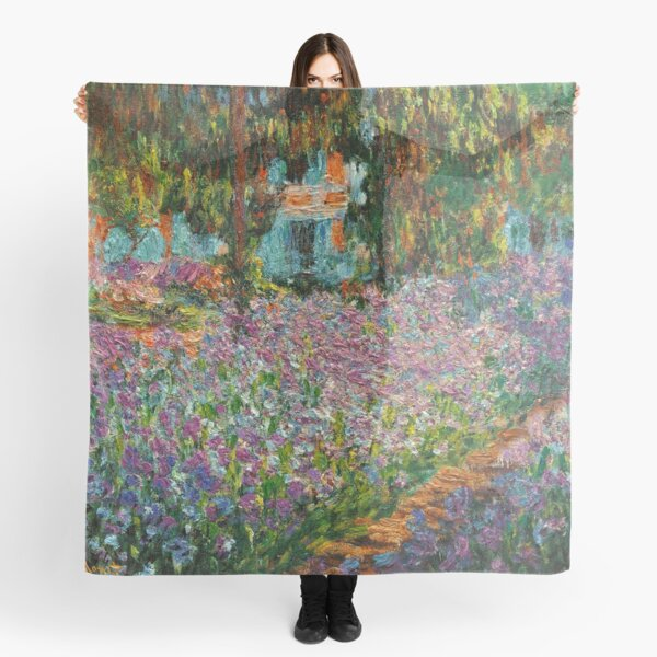 Irises In Monet's Garden At Giverny by Claude Monet Scarf
