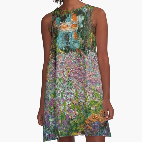Irises In Monet's Garden At Giverny by Claude Monet A-Line Dress
