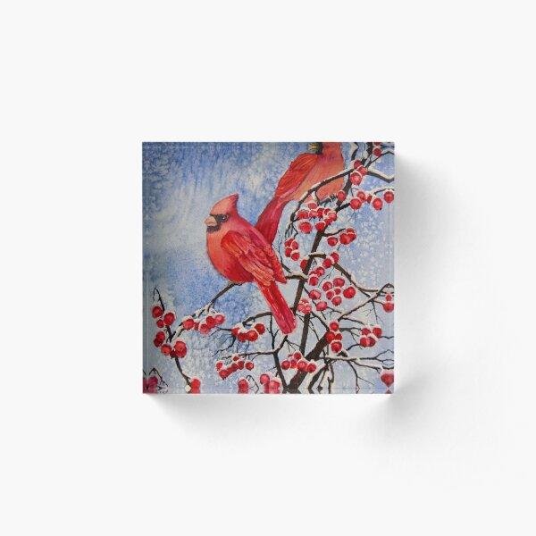 Cardinals Eating Red Berries Acrylic Block