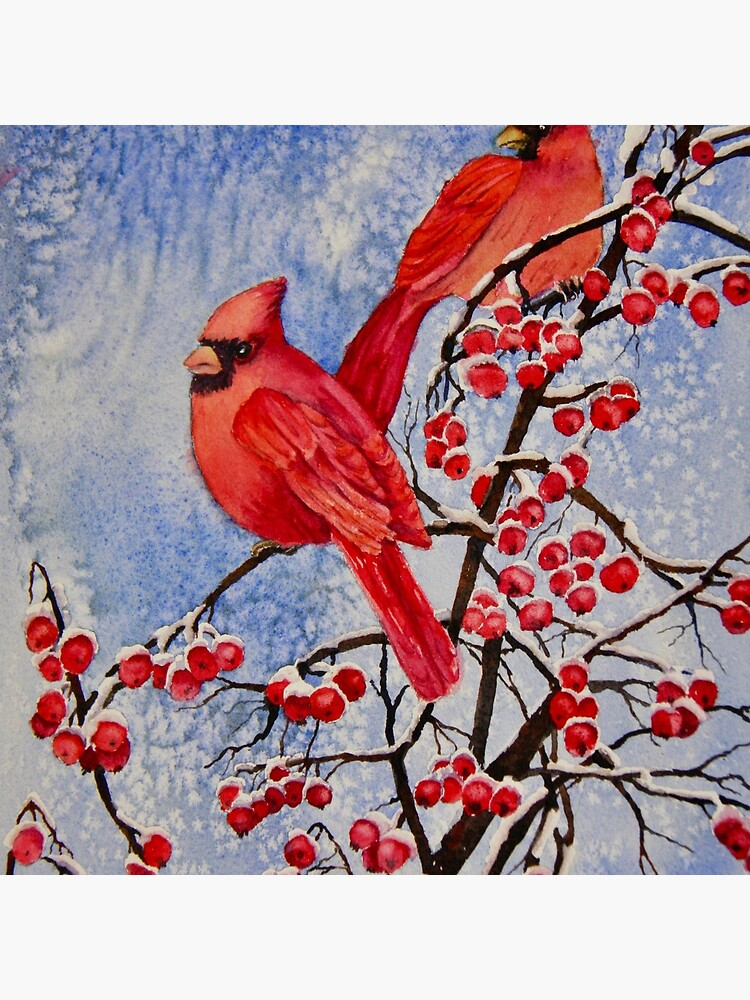 Cardinals Eating Red Berries by stramer