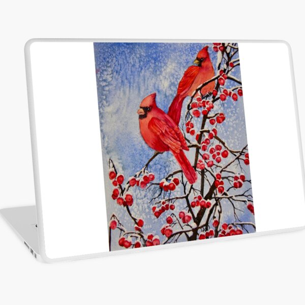 Kardinäle, die rote Beeren essen Laptop Folie