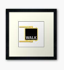 New York Crosswalk Sign Walk Framed Print