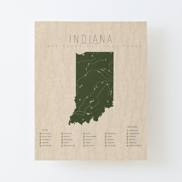 Indiana Parks Canvas Mounted Print