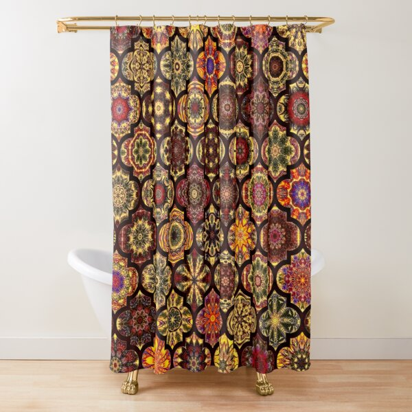 Moroccan tile golden pattern Shower Curtain
