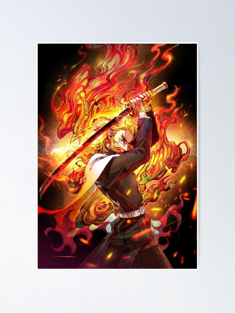 Alternate view of Kyojuro Rengoku - Demon Slayer Kimetsu no Yaiba The flame Kyojuro Rengoku pillar Poster
