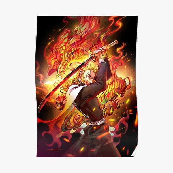 Kyojuro Rengoku - Demon Slayer Kimetsu no Yaiba The flame Kyojuro Rengoku pillar Poster