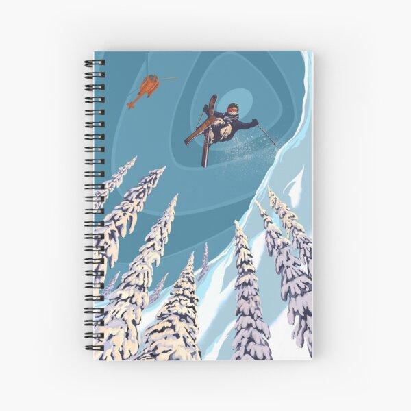 retro ski jumper heli ski poster art Spiral Notebook