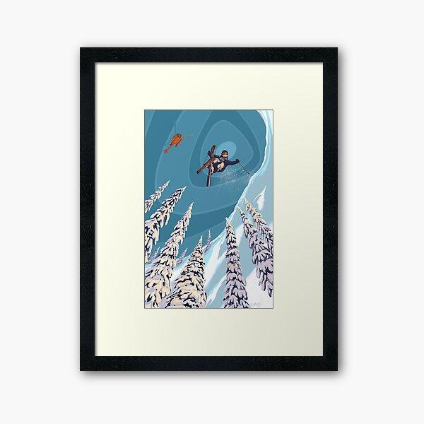 retro ski jumper heli ski poster art Framed Art Print