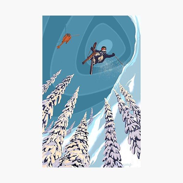 retro ski jumper heli ski poster art Photographic Print