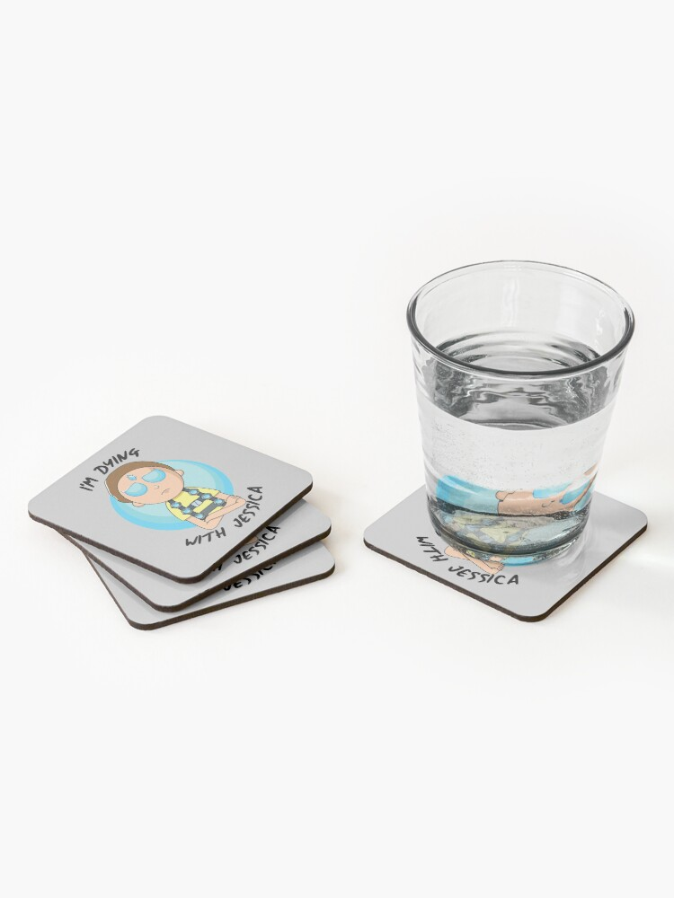 Alternate view of I'm Dying With Jessica (Rick & Morty) Coasters (Set of 4)