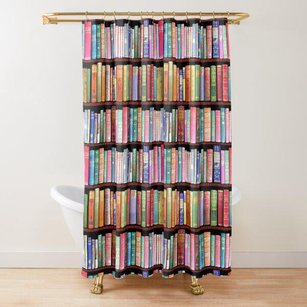 Biblioteca de libros antiguos Bookworm, estante de libros vintage Cortina de ducha