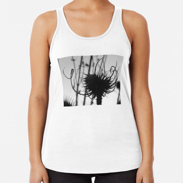Teasel head (B&W detail) Racerback Tank Top