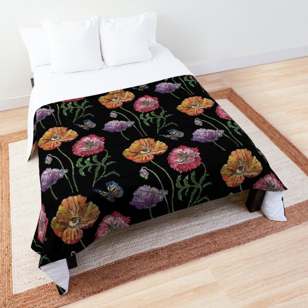 Pretty Poppies Watercolour on Black Comforter