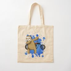 Sloth and Motorbike Cotton Tote Bag