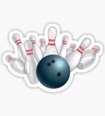 Bowling Ball Blue and Pins Sticker
