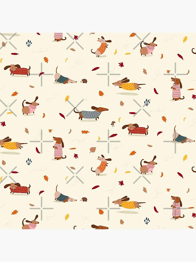 Dachshunds in  Sweaters Pattern by BexMorleyArt