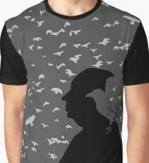 Alfred Hitchcock und seine Vögel. Grafik T-Shirt