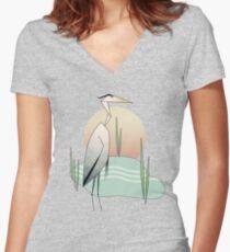 Herro Heron Women's Fitted V-Neck T-Shirt