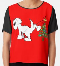 Merry Christmas love DOG Chiffon Top