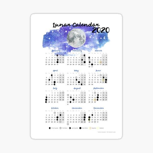Moon calendar 2020 Sticker
