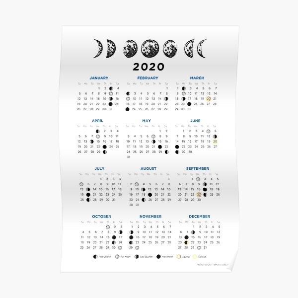 Moon calendar 2020 Poster